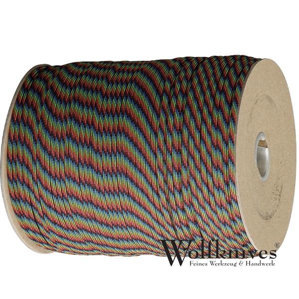 Paracord 550er - Dark Stripes (rot, blau, schwarz, gelb)