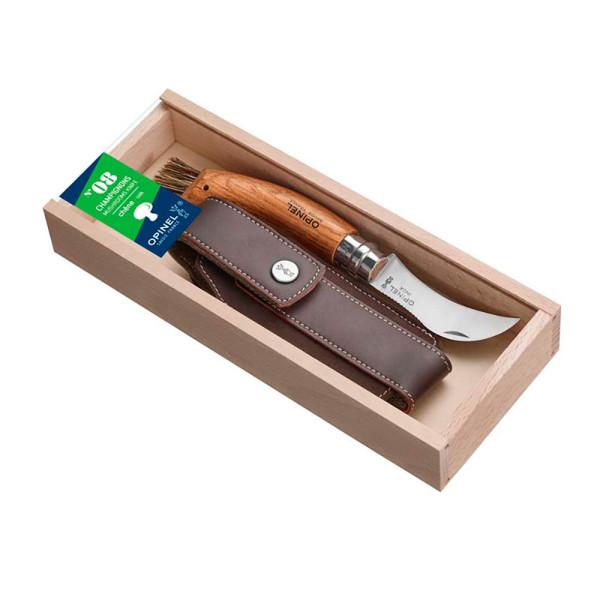 OPINEL N°8 Pilzmesser mit Eichengriff & Wildschweinborsten - Geschenkset