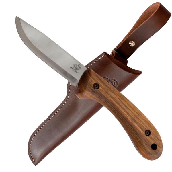 """Bushcraft Messer """"Beavercraft 2"""" mit Walnussholzgriff & Lederscheide"""