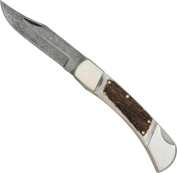 Damast Taschenmesser mit Hirschhorngriff - 192 Lagen