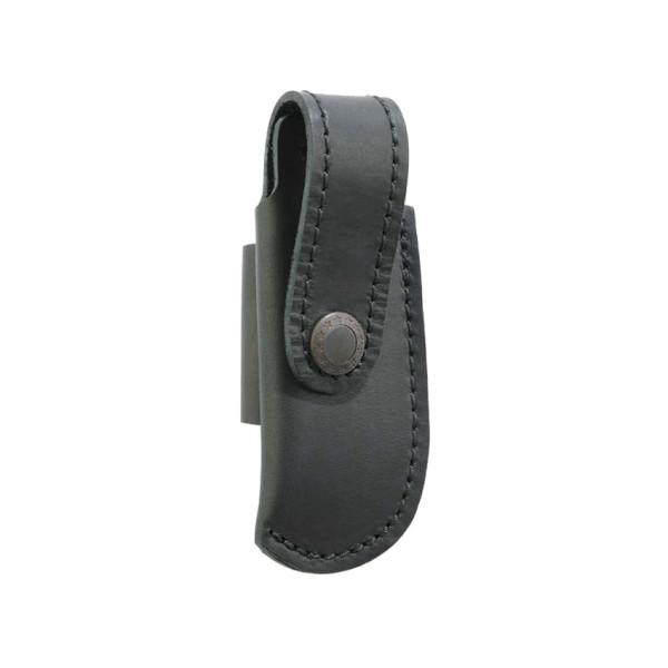Schwarzes Lederetui - bis 10 cm Heftlänge - quer zu tragen